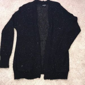 Express  Black Open Sequenced Cardigan w/ pockets